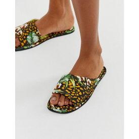 エイソス ASOS DESIGN レディース シューズ・靴 スリッパ【Nalani asymmetric animal and palm leaf co-ord satin slippers】Print