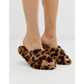 エイソス ASOS DESIGN レディース シューズ・靴 スリッパ【Neve cross strap slider slippers in leopard】Leopard