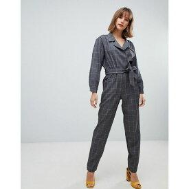 マンゴ Mango レディース ワンピース・ドレス オールインワン【check jumpsuit】Grey