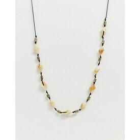 エイソス ASOS DESIGN メンズ ジュエリー・アクセサリー ネックレス【faux shell necklace with metal beads】Black