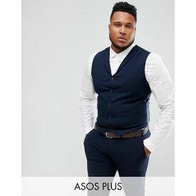 エイソス ASOS DESIGN メンズ トップス ベスト・ジレ【Plus super skinny fit suit waistcoat in navy】Navy