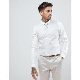 エイソス メンズ トップス ベスト・ジレ【ASOS Wedding Super Skinny Waistcoat In Ice Grey Cotton Sateen】Light grey
