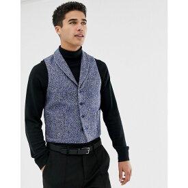エイソス メンズ トップス ベスト・ジレ【ASOS Slim Suit Waistcoat In Blue Flecked Wool Blend】Blue