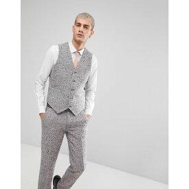 エイソス メンズ トップス ベスト・ジレ【ASOS Skinny Suit Waistcoat In Pink Flecked Wool Blend】Pink