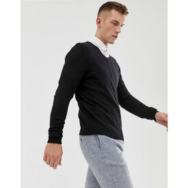 エイソス メンズ トップス ニット・セーター【ASOS V-Neck Cotton Jumper In Black】Black