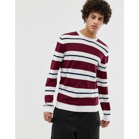 エイソス メンズ トップス ニット・セーター【ASOS Jumper With Burgundy And White Stripes】Burgundy