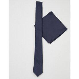 エイソス ASOS DESIGN メンズ ハンカチ・チーフ【slim navy tie and pocket sqaure】Navy