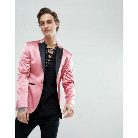 エイソス メンズ アウター スーツ・ジャケット【ASOS Super Skinny Tuxedo Blazer In Pink Sateen】Pink