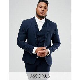 エイソス ASOS DESIGN メンズ アウター スーツ・ジャケット【Plus super skinny fit suit jacket in navy】Navy