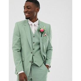 エイソス ASOS DESIGN メンズ アウター スーツ・ジャケット【wedding slim suit jacket in sage green】Green