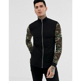 エイソス ASOS DESIGN メンズ アウター ジャケット【muscle jersey jacket in black with camo sleeves】Camo