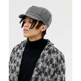 エイソス ASOS DESIGN メンズ 帽子【baker boy hat in oversized black herringbone】Black