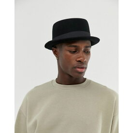 エイソス ASOS DESIGN メンズ 帽子【pork pie hat in black felt】Black