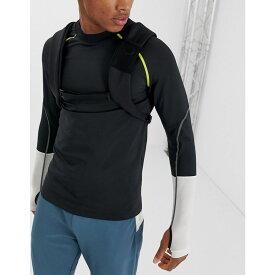 エイソス ASOS 4505 メンズ ランニング・ウォーキング トップス【long sleeve running t-shirt with thumbholes and tape detail】Black