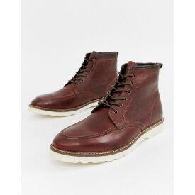 エイソス ASOS DESIGN メンズ シューズ・靴 ブーツ【lace up boots in brown leather with white sole】Brown