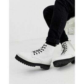 エイソス ASOS DESIGN メンズ シューズ・靴 ブーツ【lace up boot in white faux leather with raised chunky sole】White