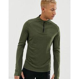 エイソス ASOS 4505 メンズ ランニング・ウォーキング トップス【running long sleeve t-shirt with stepped hem and 1/4 zip neck】Khaki