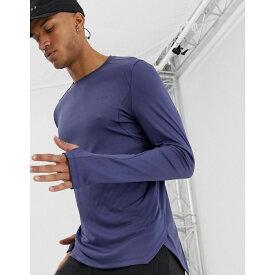 エイソス ASOS 4505 メンズ ランニング・ウォーキング トップス【running long sleeve t-shirt with breathable mesh panels and stepped hem】Crown blue