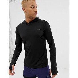 エイソス ASOS 4505 メンズ ランニング・ウォーキング トップス【running long sleeve t-shirt with breathable mesh panels and stepped hem】Black