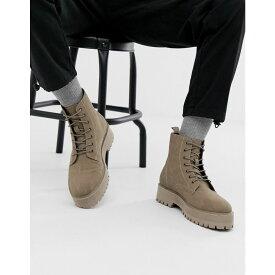 エイソス ASOS DESIGN メンズ シューズ・靴 ブーツ【lace up boot in stone faux suede with raised chunky sole】Stone