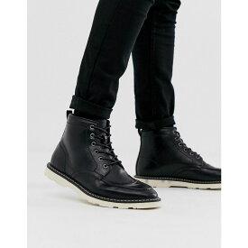 エイソス ASOS DESIGN メンズ シューズ・靴 ブーツ【lace up boots in black faux leather with white sole】Black