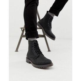 エイソス ASOS DESIGN メンズ シューズ・靴 ブーツ【lace up boots in black leather with chunky sole】Black