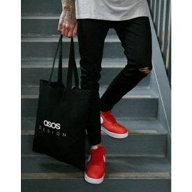 エイソス ASOS DESIGN メンズ バッグ トートバッグ【organic cotton tote bag in black with text print】Black