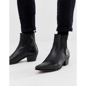 エイソス ASOS DESIGN メンズ シューズ・靴 ブーツ【cuban heel western boots in black leather with lightning detail】Black