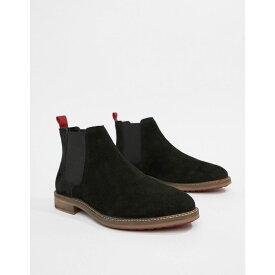 エイソス ASOS DESIGN メンズ シューズ・靴 ブーツ【chelsea boots in black suede with red back pull】Black