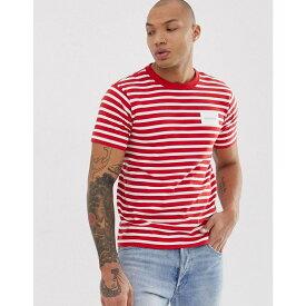 カルバンクライン Calvin Klein メンズ トップス Tシャツ【box logo stripe crew neck t-shirt in red】Fiery red