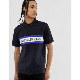 カルバンクライン Calvin Klein Jeans メンズ トップス ポロシャツ【institutional stripe logo polo in black】Black/white/black