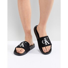カルバンクライン Calvin Klein レディース シューズ・靴 サンダル・ミュール【Chantal Black Canvas Sliders】Black/black