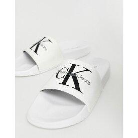 カルバンクライン Calvin Klein レディース シューズ・靴 サンダル・ミュール【Chantal white canvas sliders】White