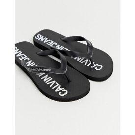 カルバンクライン Calvin Klein メンズ シューズ・靴 ビーチサンダル【Errol logo flip flops in black】Black