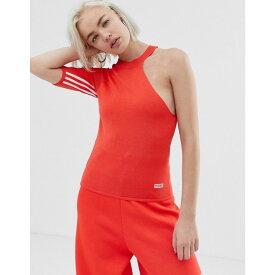 アディダス adidas Originals レディース トップス【Tailored three stripe asymetric top in red】Bright red