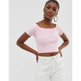 アディダス adidas Originals レディース トップス オフショルダー【off shoulder knitted tshirt in pink】Pink