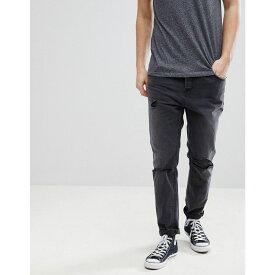 エイソス メンズ ボトムス・パンツ ジーンズ・デニム【Tapered Jeans In Washed Black With Faux Leather Rip & Repair】Washed black