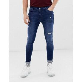 エイソス ASOS DESIGN メンズ ボトムス・パンツ ジーンズ・デニム【spray on jeans with power stretch in overydye blue with abrasions】Dark wash blue