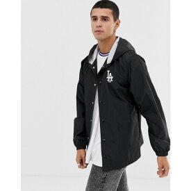 ニューエラ New Era メンズ アウター ジャケット【MLB LA Dodgers hooded coach jacket with embroidered logo in black】Black