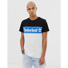 ティンバーランド Timberland メンズ トップス Tシャツ【crew neck t-shirt with print in cut and sew black/blue/white】Dark sapphire