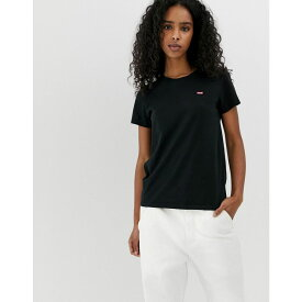 リーバイス Levis レディース トップス Tシャツ【Levi's Perfect White T Shirt with Chest Logo in Black】Caviar
