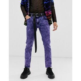 エイソス ASOS DESIGN メンズ ボトムス・パンツ ジーンズ・デニム【slim jeans in acid wash purple】Purple