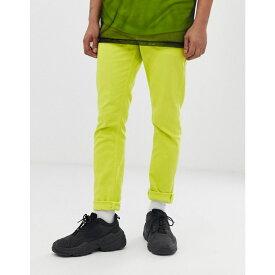 エイソス ASOS DESIGN メンズ ボトムス・パンツ ジーンズ・デニム【slim jeans in neon green】Orange