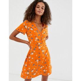 ニュールック New Look レディース ワンピース・ドレス ワンピース【button down dress in orange print】Orange pattern