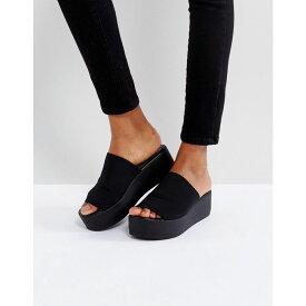 スティーブ マデン Steve Madden レディース シューズ・靴 サンダル・ミュール【Slinky black chunky flatform sandals】Black