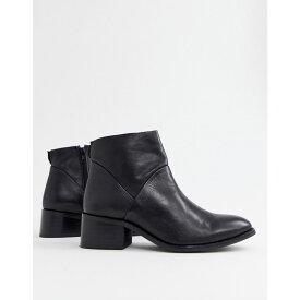 スティーブ マデン Steve Madden レディース シューズ・靴 ブーツ【Risen black leather heeled ankle boots】Black leather