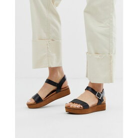 スティーブ マデン Steve Madden レディース シューズ・靴 サンダル・ミュール【Aida black leather wooden flatform sandals】Black leather