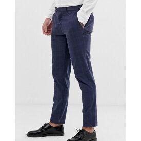 テッドベーカー Ted Baker メンズ ボトムス・パンツ スキニー・スリム【slim fit trousers with stretch in navy check】Navy