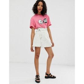 チープマンデー Cheap Monday レディース スカート【organic cotton denim slant skirt with raw hem】Avrge white