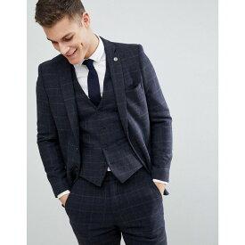 フレンチコネクション メンズ アウター スーツ・ジャケット【Brushed Flannel Slim Fit Tobacco Check Suit Jacket】Blue